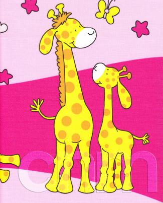 Krepové povlečení Žirafy růžové (135x90cm+40x60cm) - ...