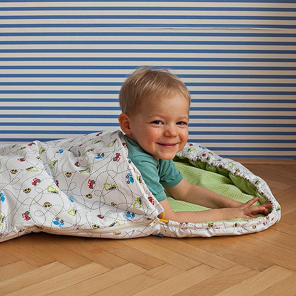 Dětský spací pytel Autíčka 165x70 cm