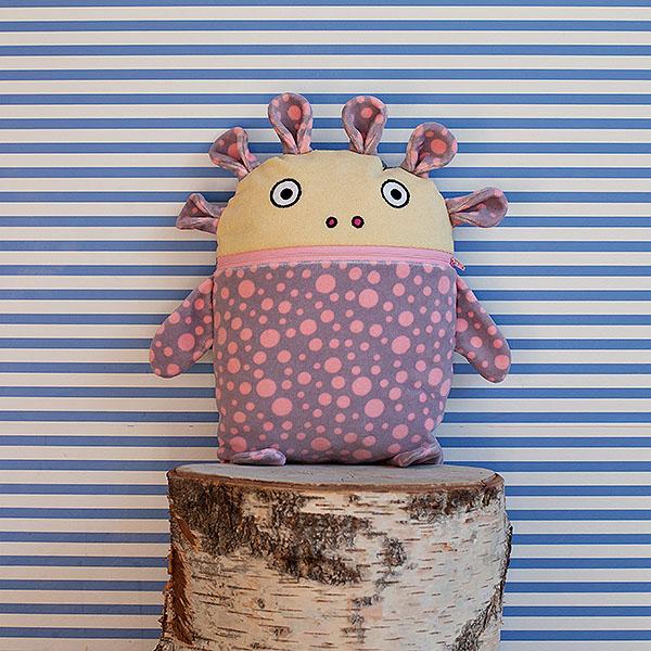 Polštářek Pyžamožrout růžový puntíkatý 35x30cm