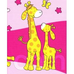 Krepové povlečení Žirafy růžové (135x90cm+40x60cm) - od 20 ks