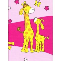 Bavlněné povlečení Žirafy růžové (135x90cm+40x60cm) - od 20 ks