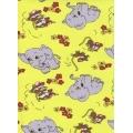 Krepové povlečení Sloni Myši žluté (135x90cm+40x60cm) - od 20 ks