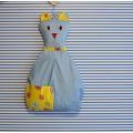 Závěsný kapsář Kočka - světle modrý