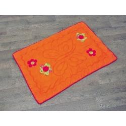 Set: Hrací deka pro miminka oranžová + povlak na polštářek