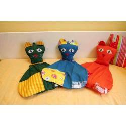 Závěsný kapsář Kočka - modrý