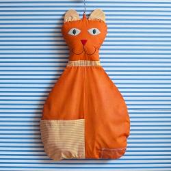 Závěsný kapsář Kočka - oranžový