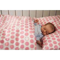 Povlečení Puntík - baby růžové (135x90 cm+50x70 cm)