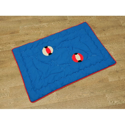 Set: Hrací deka pro miminka modrá + povlak na polštářek